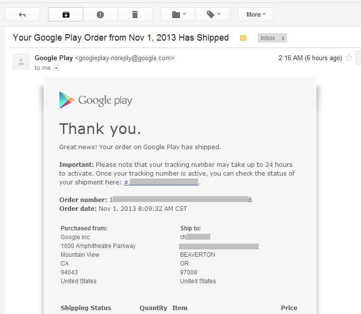 google play上海淘Nexus 5的发货后,邮件通知